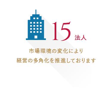 法人数:12法人 市場環境の変化により経営の多角化を推進しております